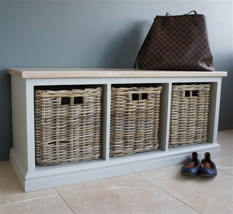 storage bench wicker baskets storage bench with limed oak top and wicker baskets by