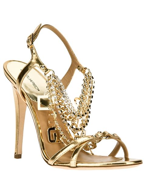 chain sandals dsquared2 chain detailed sandal in gold lyst