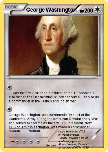 Revolutionary War Trading Cards Template by Pok 233 Mon George Washington 229 229 My Card