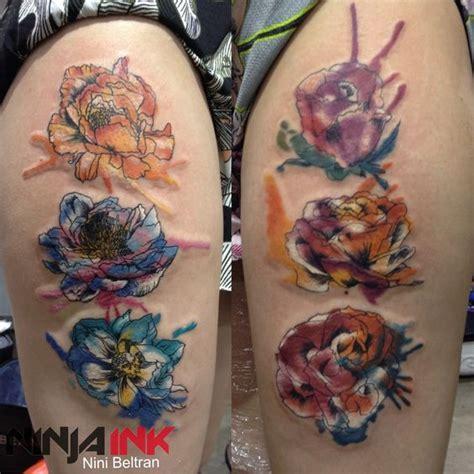 watercolor flowers by nini beltran ink