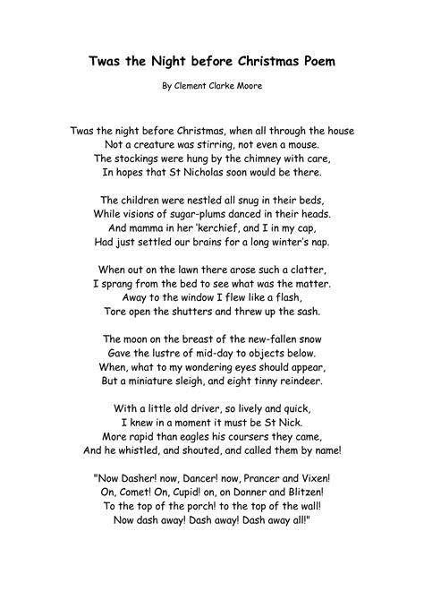 printable xmas poems printable twas the night before christmas story