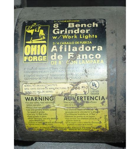 ohio forge bench grinder ohio forge 8 quot bench grinder btm industrial