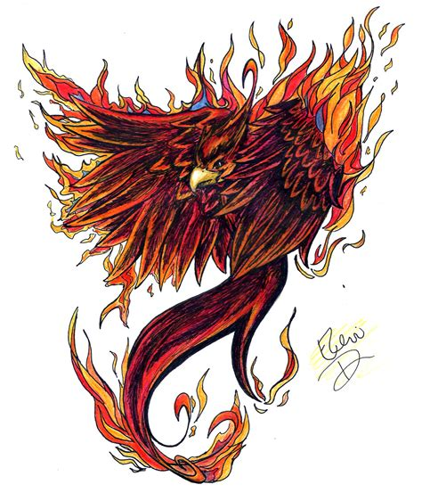 traditional phoenix tattoo flaming by misselenius on deviantart