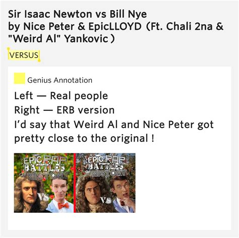 Epiclloyd Sir Isaac Newton Vs Bill Nye Lyrics Genius Lyrics | versus sir isaac newton vs bill nye by nice peter