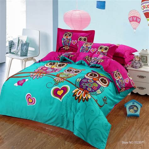 4 3 pieces 100 cotton kids owl boys girls bedding set 3d