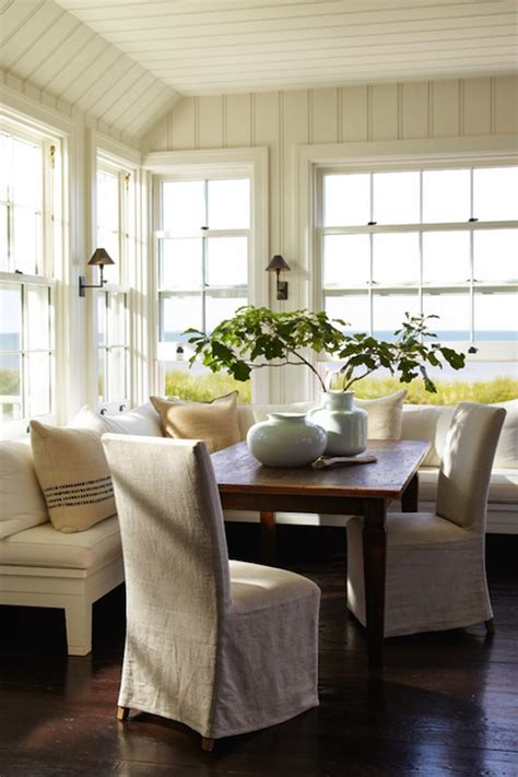 shaped banquette cottage dining room sawyer berson