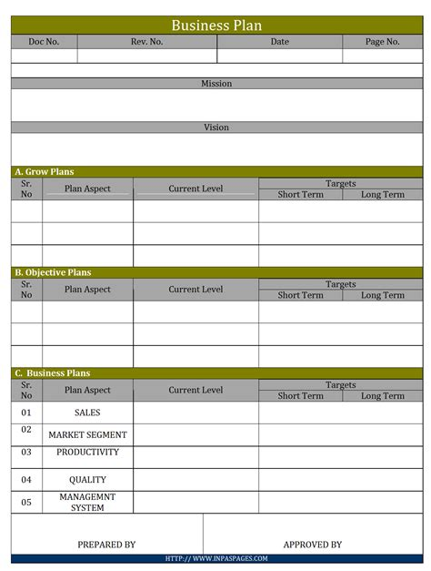 business plan template pdf free download schedule