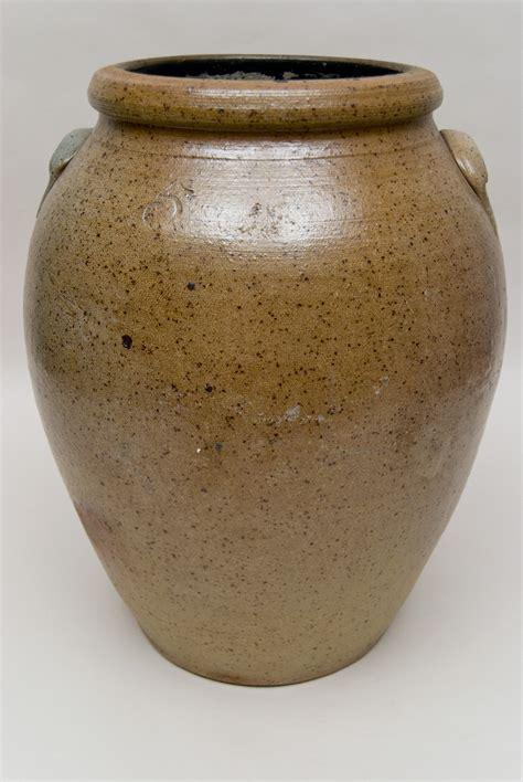 large antique american stoneware cyclone decorated cobalt freehand folk art storage jar for sale