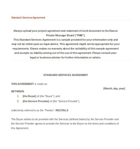 standard agreement template 20 service agreement template free sle exle