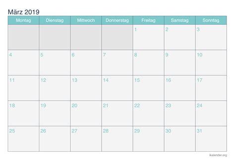 kalender maerz  zum ausdrucken ikalenderorg