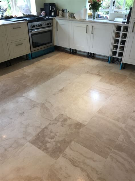 Lustre Restored to Large Area of Travertine Tiles in
