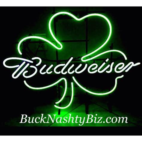 bud light shamrock neon sign budweiser shamrock st patricks day irish neon bar light