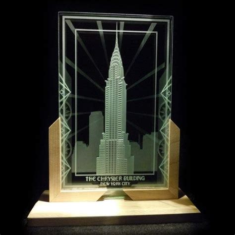 chrysler building decorative etched glass display