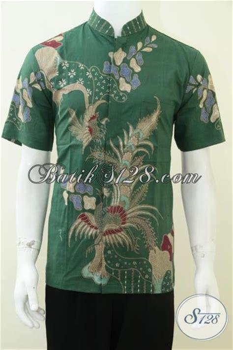 Baju Koko Pria Hijau baju batik pria kerah koko shanghai warna hijau bagus dan