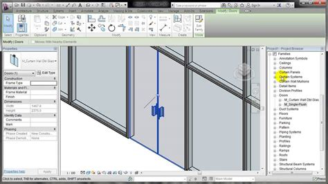 revit door in curtain wall revit placing a door in a curtain wall youtube