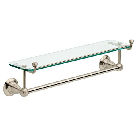bathroom shelf with towel bar brushed nickel delta porter 18 in towel bar with glass shelf in