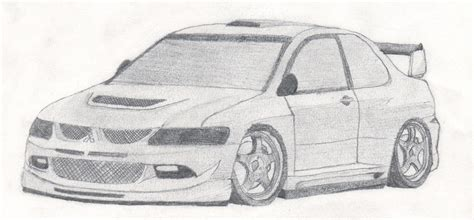 mitsubishi lancer drawing how to draw evo 8