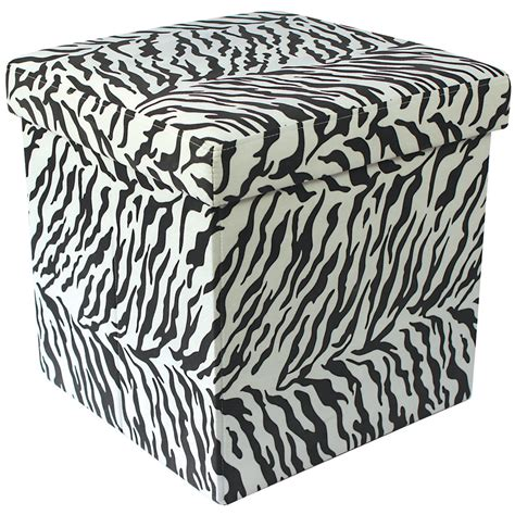 zebra print storage ottoman zebra animal print folding storage pouffe seat ottoman toy