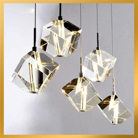 Cheap Modern Living Room Ideas 5 lights cubic crystal chandelier light pendant lamp