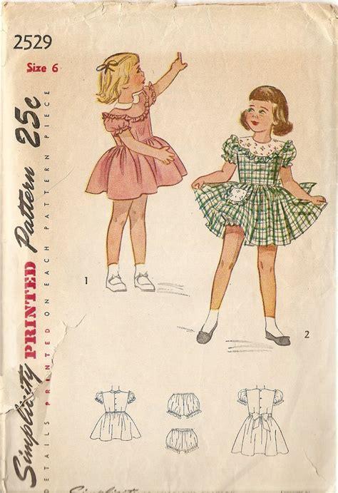 Simplicity Home Decor Patterns by 1950s Girls Dress Pattern Size 6 Party Dress Pattern