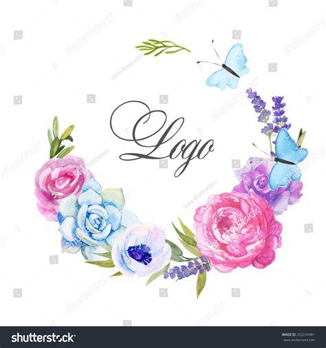 watercolor logo tutorial illustrator beautiful watercolor logo roses anemone lavender stock