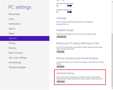 unable to access pc settings in windows 8 1 microsoft how to start windows8 in safe mode advanced boot option