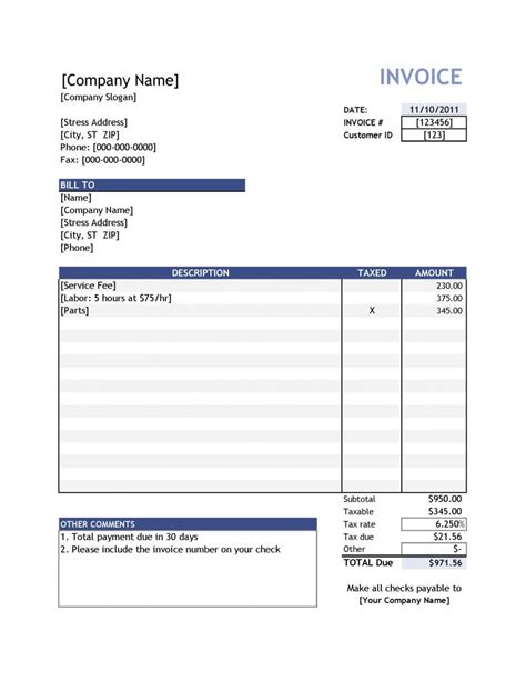 19 Free Invoice Template Excel Easy To Edit And Customize Easy Invoice Template Free
