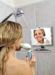 deluxe led fogless shower mirror with squegee features