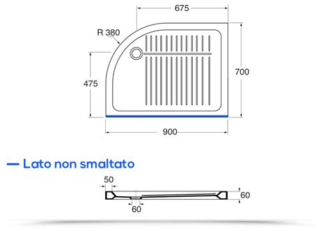 piatto doccia profondo piatto doccia semicircolare stondato 70x90 cm versione