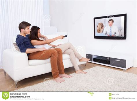 tv in living room stock photo image