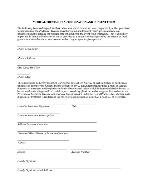 Medical Authorization Form Tomsplans Parental Consent Form For Medical Treatment Real Authorization Form For Grandparents Template