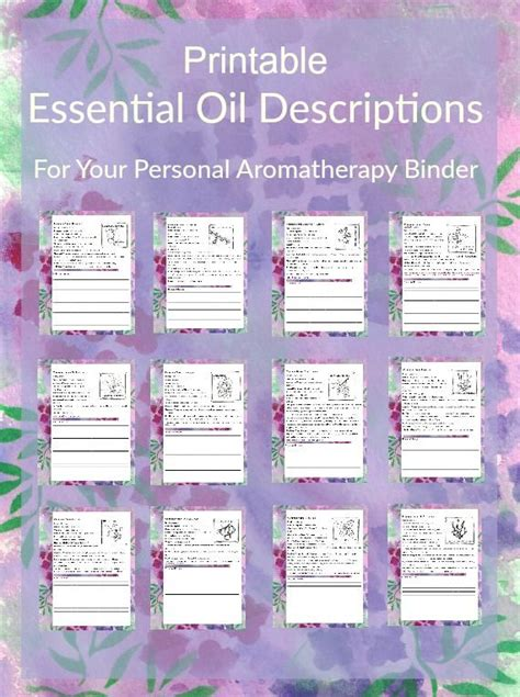 printable essential oil journal printable essential oil descriptions for your aromatherapy