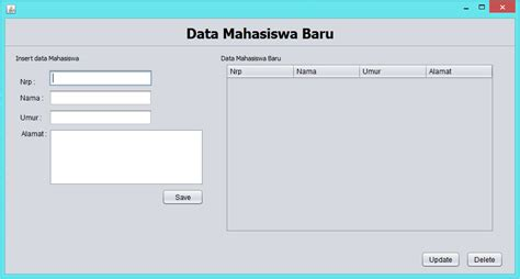 javax swing jframe belajar java aplikasi java dengan database object