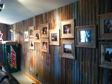 Bar In Kitchen Ideas rusted barn tin wall covering old barnwood picture
