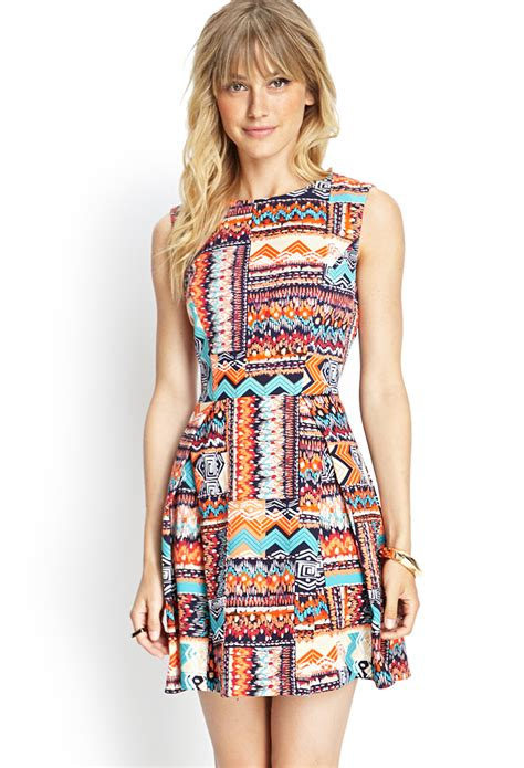 21 tribal print woven dress in multicolor navy