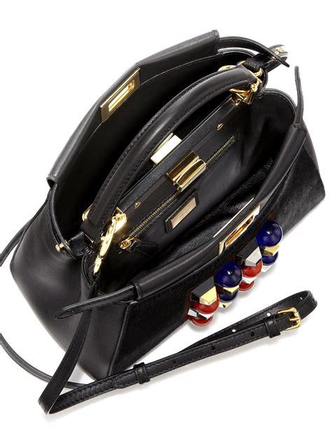 New Fendi Black Multicolor Fendi Peekaboo Mini Studded Leather Mink Fur Satchel In