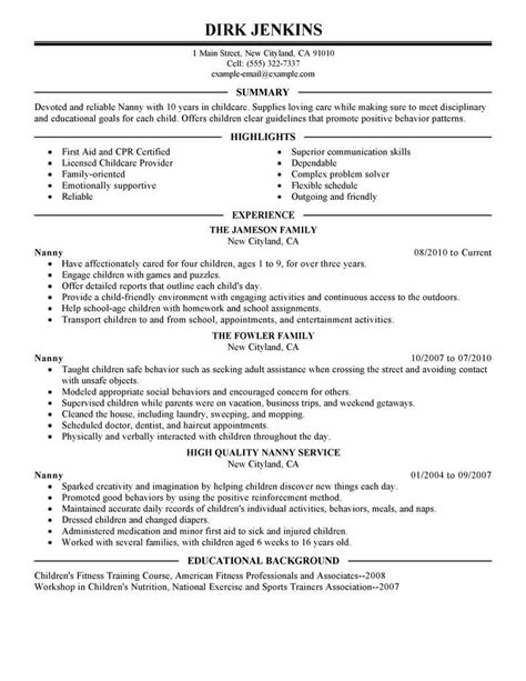 Professional Nanny Resume by Best Nanny Resume Exle Livecareer