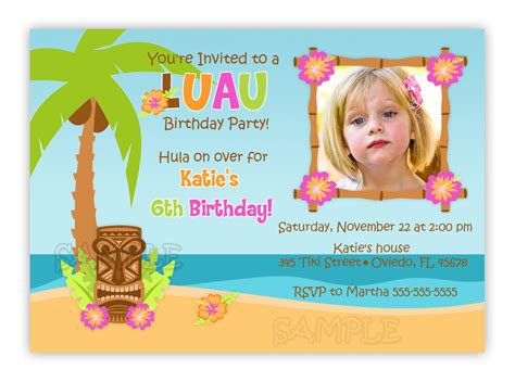 card template hawaian birthday birthday invites luau birthday invitations free printable