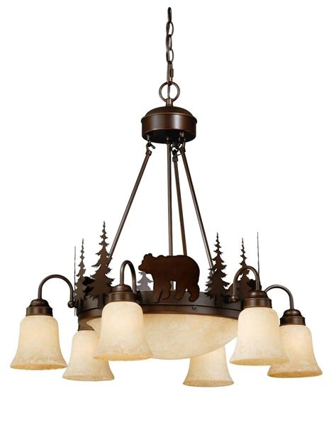 Lodge Light Fixtures Vaxcel Yellowstone Rustic Country Chandelier Bozeman Lodge Light Ch55706bbz Ebay