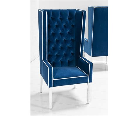 Kids Bathroom Stools - ultra tall mod wing dining chair in royal blue velvet modshop