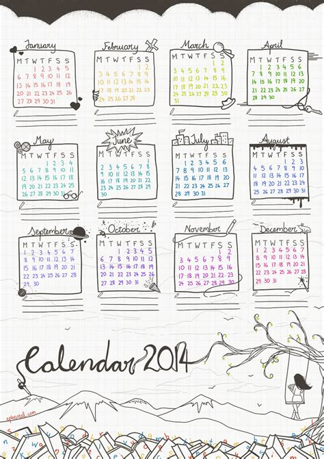 The Lit Calendar by Literature Calendar 2014 Free Printable By