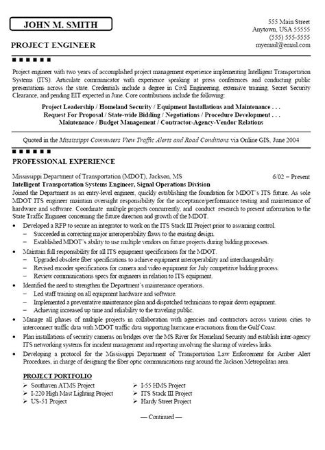 Civil Engineering Resume Templates by Civil Engineering Resume Format Free Sles Exles