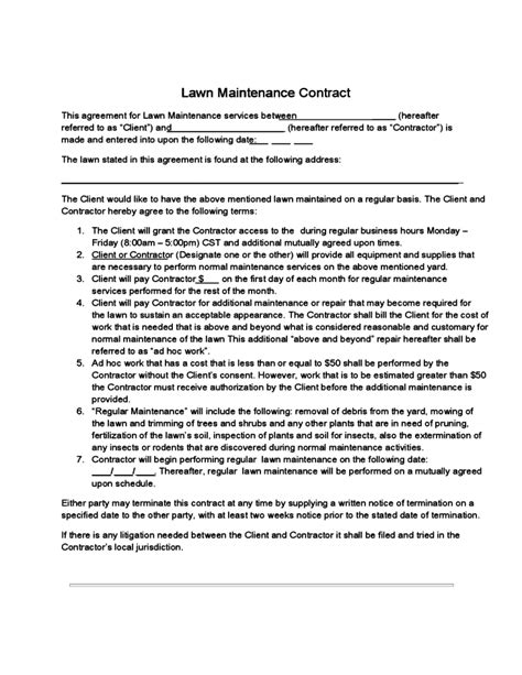 Lawn Maintenance Contract Free Download Lawn Care Service Contract Template