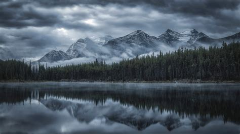 reflection  cloud  mountains  forest lake full hd