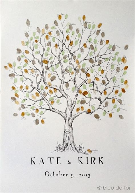 printable family tree guest book wedding guest book alternative fingerprint tree large