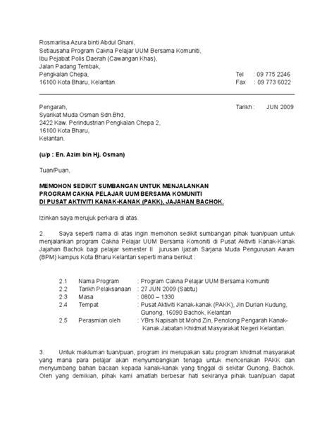 Contoh Surat Sponsor by Contoh Surat Rasmi Memohon Sumbangan Kewangan Fontoh