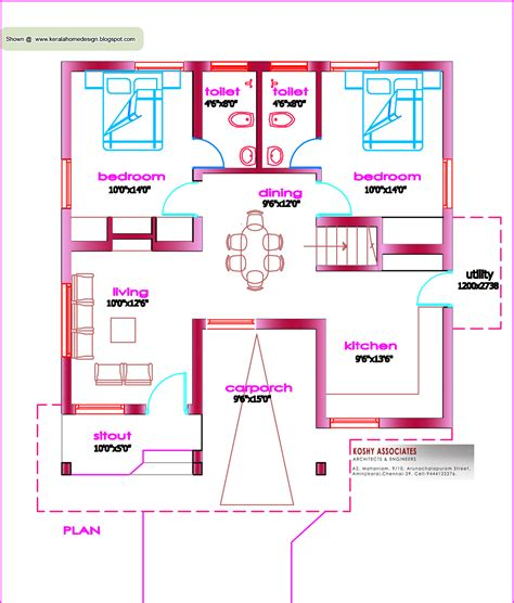 House Plans 1000 Sq Ft Or Less by Single Floor House Plan 1000 Sq Ft Kerala Home