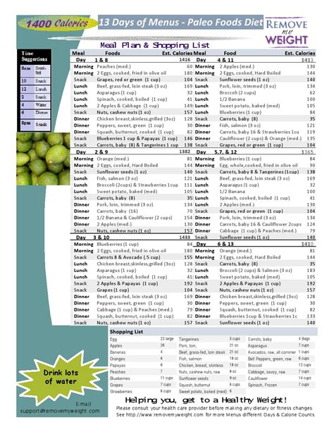 printable diet plans weight loss paleo diet 13 day 1400 calories a day meal plan to lose