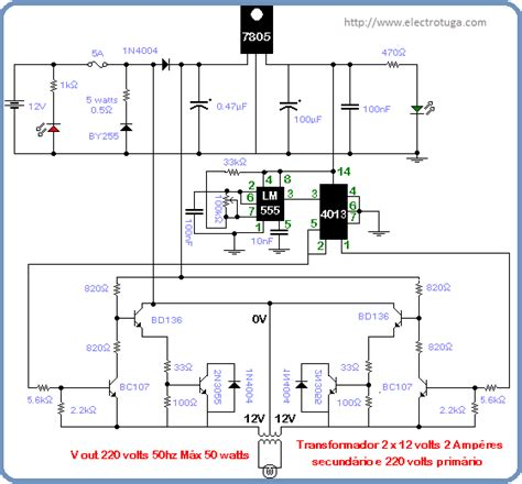 Diagrama Esquem 225 Tico Do Conversor 12 220 Volts 50 Watts