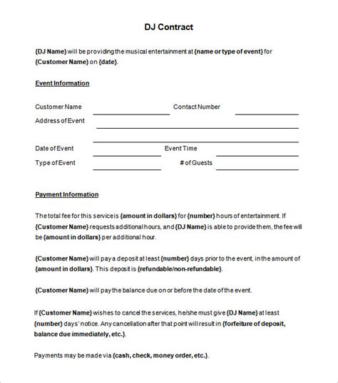 dj contract templates  word google docs apple pages  premium templates